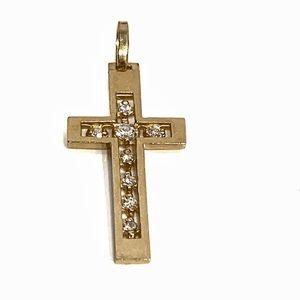14k Yellow gold Diamond cross Religious Pendant